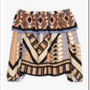 H&M Off Shoulder Crop Top batik Herotage NWT. SZ 8. Black Blue Tans